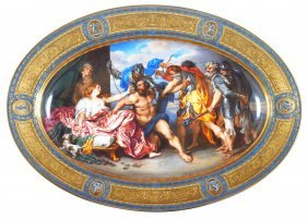 7: A VIENNA OVAL DISH, CIRCA 1825 painted with a scene