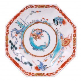 23: A CHELSEA OCTAGONAL SAUCER, CIRCA 1752 painted in t