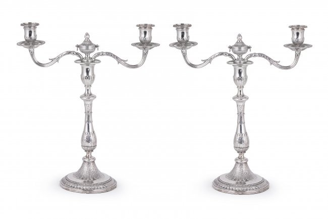391: A PAIR OF GEORGE III SILVER TWO-LIGHT CANDELABRA,