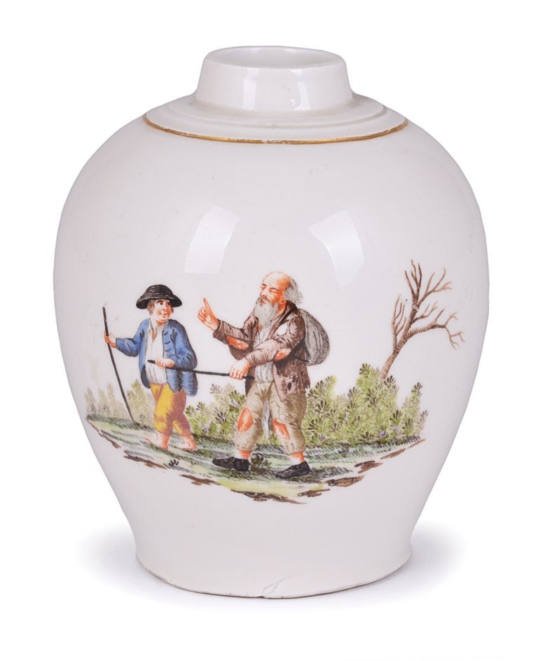 A NYMPHENBURG TEA CANISTER, 1763-67 painted with a vign