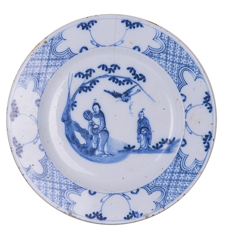 A BRISTOL DELFTWARE DISH, CIRCA 1750 painted in blue wi