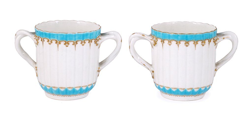 A PAIR OF WORCESTER CHOCOLATE CUPS, 1770S of fluted for
