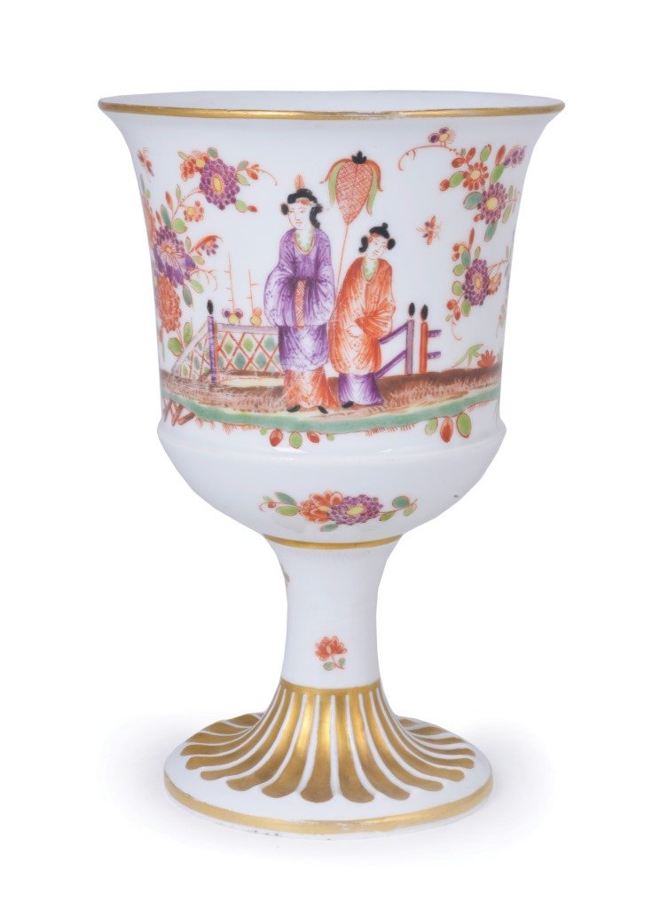 **A MEISSEN PORCELAIN GOBLET, PROBABLY LATE 19TH /