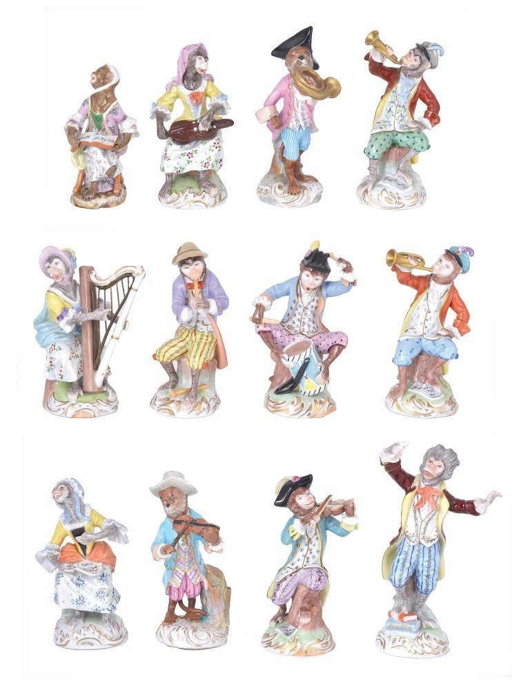 A MATCHED SET OF TWELVE MONKEY BAND FIGURES, ONE