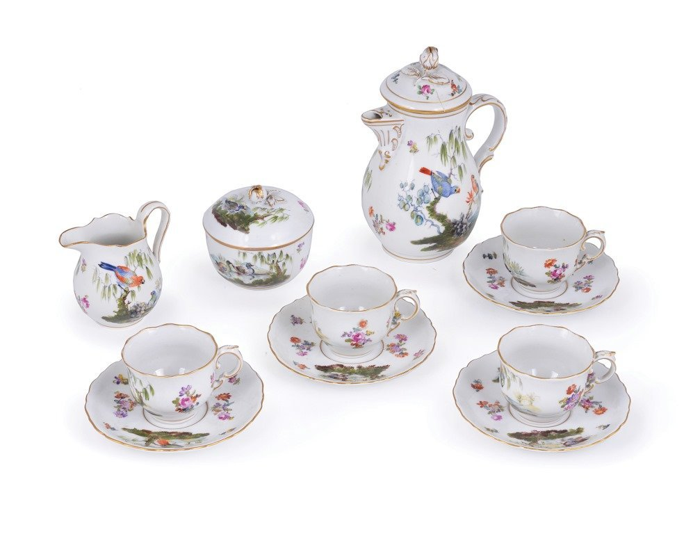 A COFFEE SET, GERMAN, CIRCA 1900 each painted with