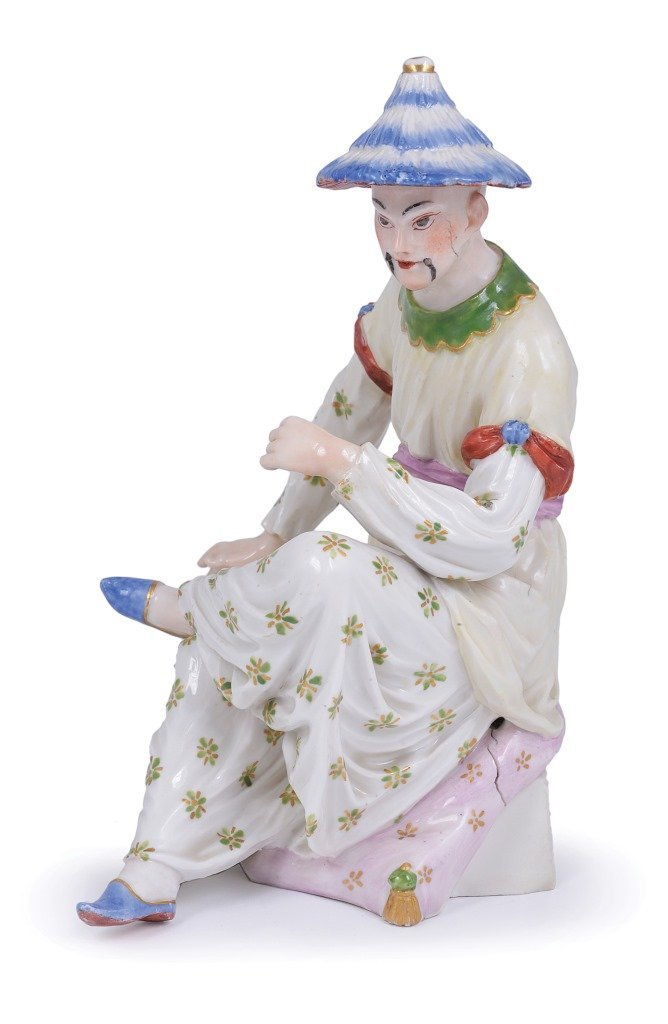 A LUDWIGSBURG FIGURE OF A CHINAMAN, MODELLED BY JOSEPH
