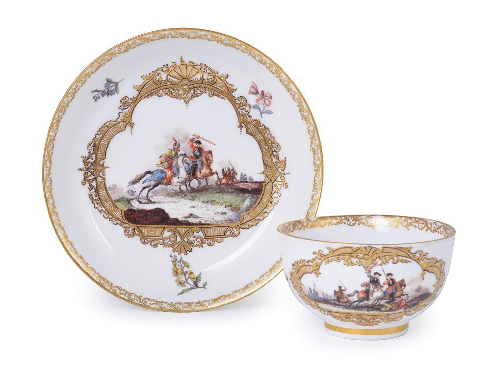 **A MEISSEN TEABOWL AND SAUCER, CIRCA 1745 painted