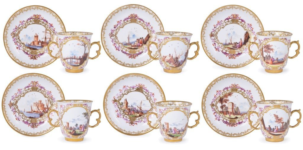 **A SET OF SIX MEISSEN PORCELAIN TWO-HANDLED CUPS AND
