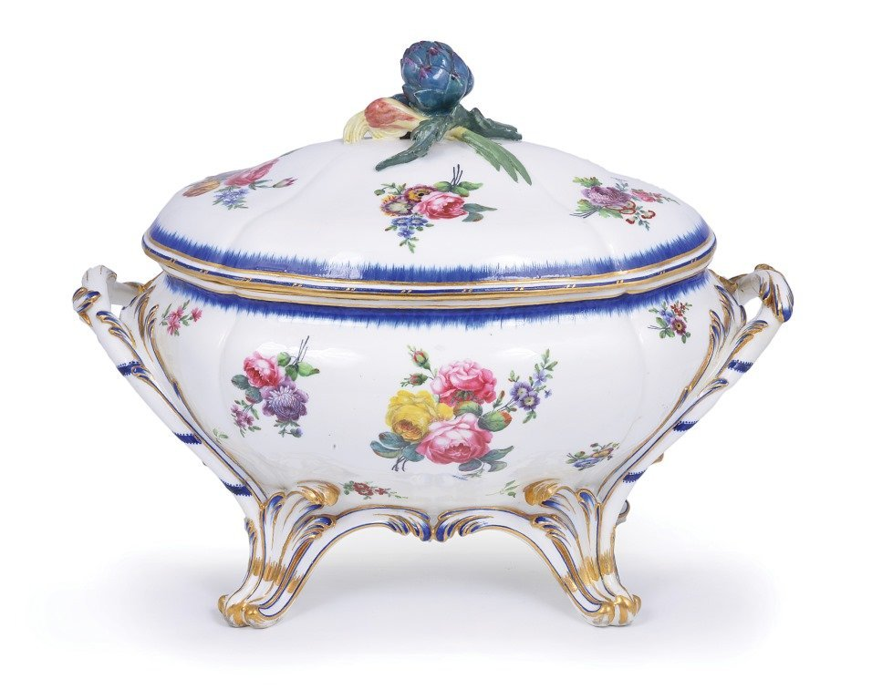 A SEVRES TUREEN AND COVER, 1773 shaped oval, on