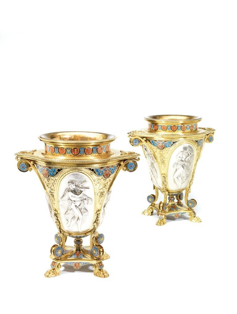 A PAIR OF VICTORIAN PARCEL-GILT-SILVER AND ENAMEL