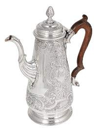 A CARIBBEAN GEORGE II SILVER COFFEE POT, ATTRIBUTED TO