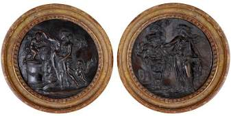 A PAIR OF FRENCH BRONZE ROUNDELS, CIRCLE OF CLAUDE