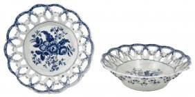 A Near Pair Of Worcester Blue And White Baskets, Circa