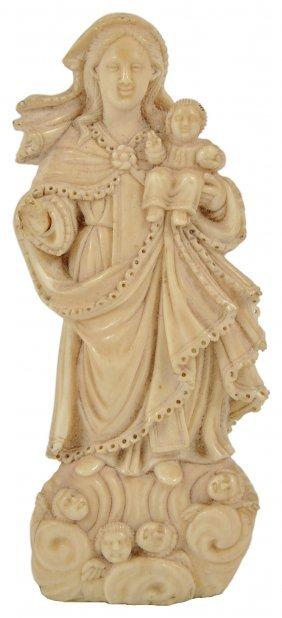 ˜an Indo-portuguese Ivory Madonna And Child, Goa,