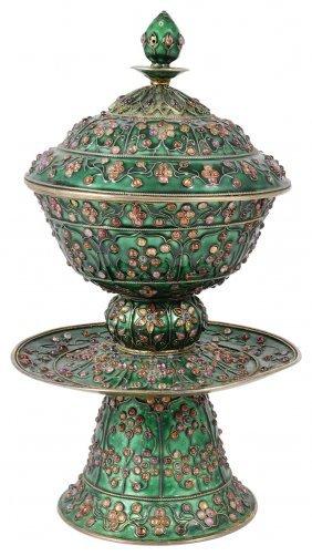 A Chinese Silver-gilt, Gem-set And Enamelled Pedestal