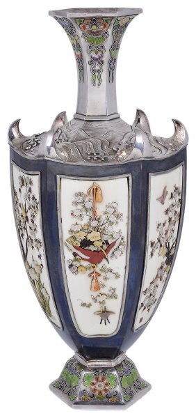 ˜a Japanese Silver, Copper, Inlaid Ivory And Enamel