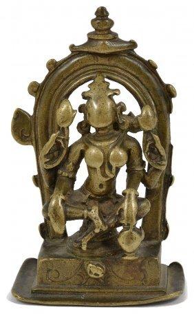 A Brass Shrine Depicting Gajalakshmi, Western India,