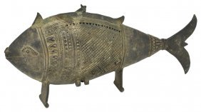 A Bronze Incense Burner(?) In The Form Of A Fish,