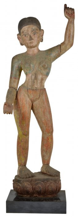 A Polychromed Wood Female Figure, Nepal, 18th/19th