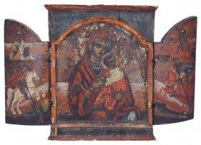 A Greek Provincial Triptych Icon, 18th Century