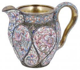 A Russian Silver-gilt And Cloisonne Enamel Cream Jug,