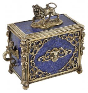 A French Silver-gilt-mounted Lapis Lazuli Casket,