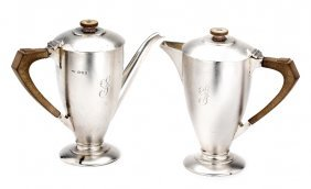 A Pair Of George V Silver Cafe-au-lait Pots, Mappin &