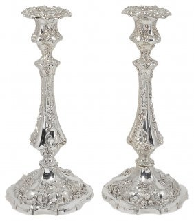 A Large Pair Of Electroplate Candlesticks, Deykin &