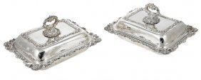 A Pair Of Victorian Silver Entree Dishes, Covers And