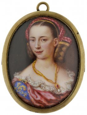A Portrait Miniature Of A Lady, Circle Of Giuseppe