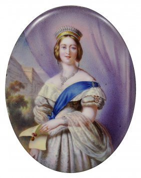 A Portrait Miniature Of Queen Victoria, English School,