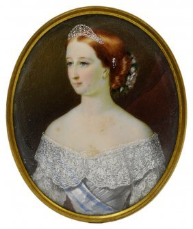 ˜a Portrait Miniature Of Eugenie, Empress Of The