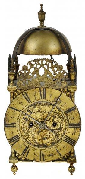 An English Brass Composite Lantern Clock, 18th Century
