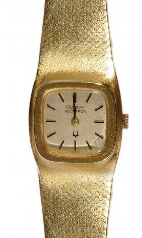 Bulova Accutron: A Lady's Eighteen Carat Gold Bracelet