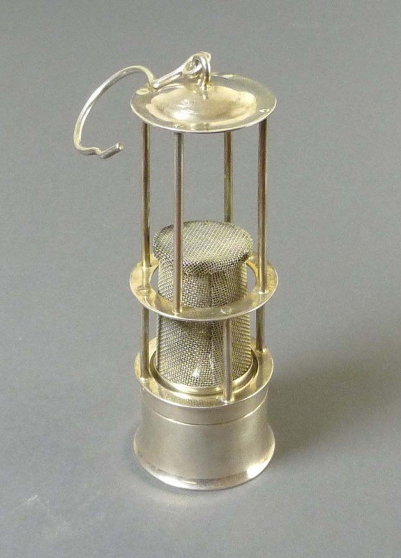 19: Model of a miner's lamp, Sterling silver
