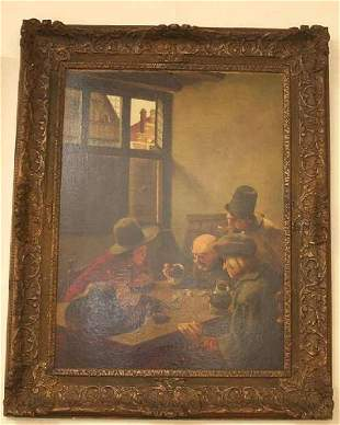 """H. Nieberg, """"Three Men Playing Dice"""", signed, oil on"""