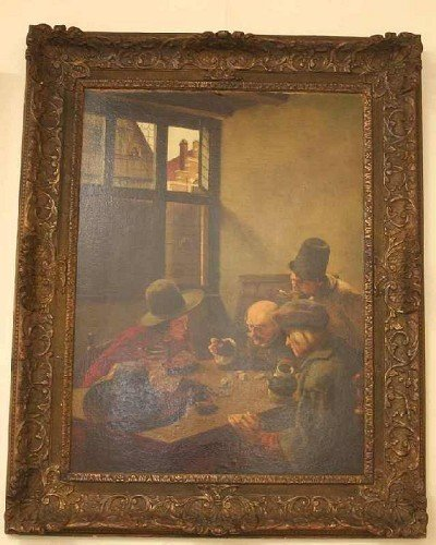 "8: H. Nieberg, ""Three Men Playing Dice"", signed, oil on"