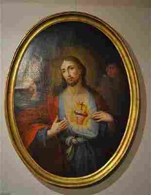 """""""Heart of Jesus"""", large oval oil painting on canvas"""