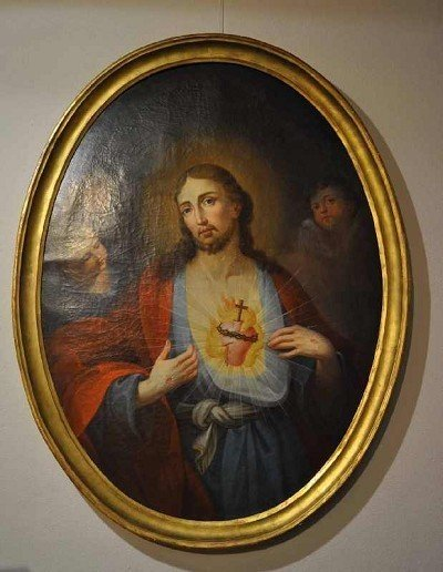 "18: ""Heart of Jesus"", large oval oil painting on canvas"
