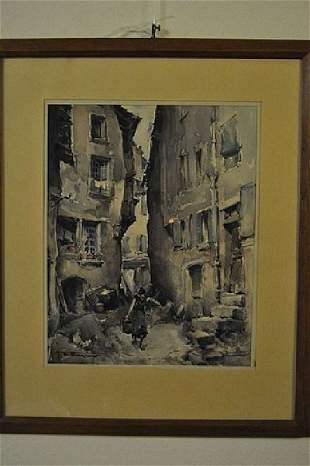 """WAGNER H.E., """"Old Paris"""", watercolor, signed 20 Cen"""