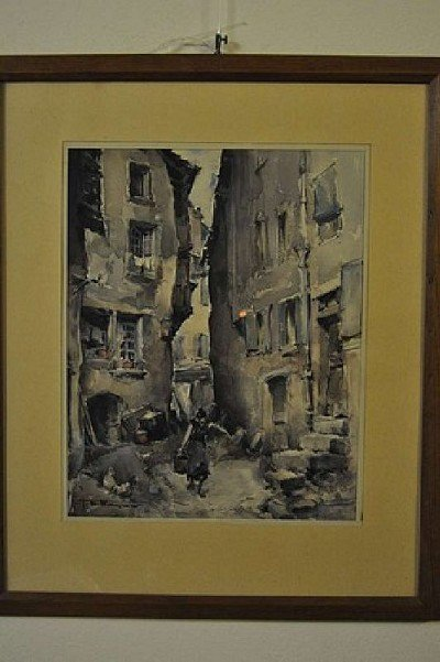 "21: WAGNER H.E., ""Old Paris"", watercolor, signed 20 Cen"
