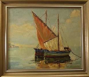 """Sailing Boats on a Lake"", signed"