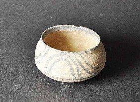 Ancient Roman Jar, Bulbous Shape, Decor Band In Up