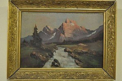 """106: GÄCH, A. """"Mountain Landscape"""", oil on wood, signed"""