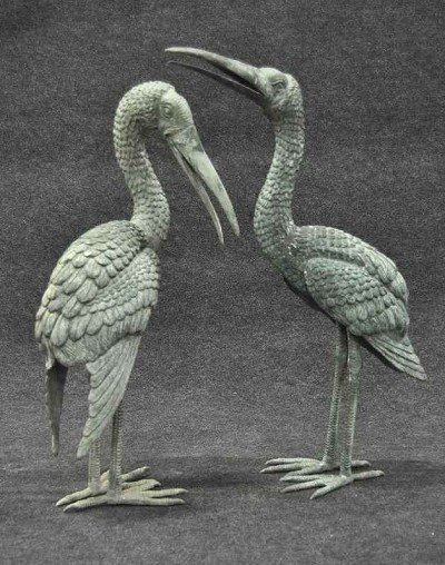 110: Cormorant pair, garden items, antique bronze with