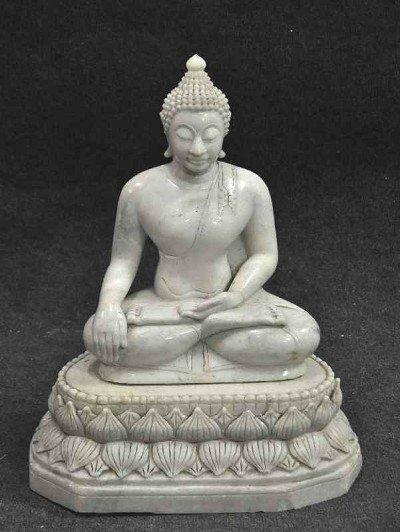 115: Marble Jadeit Buddha, Bhumisparsa Mudra, 2-part si