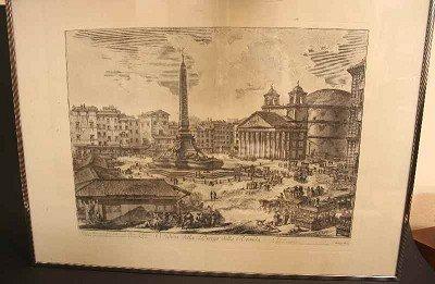 """123: """"Piazza della Rotonda"""" by Piranesi del Sc., Etchin"""