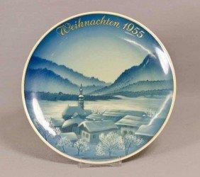 13: Rosenthal Weihnachtsteller, Dorfweihnacht, 1955, Wi