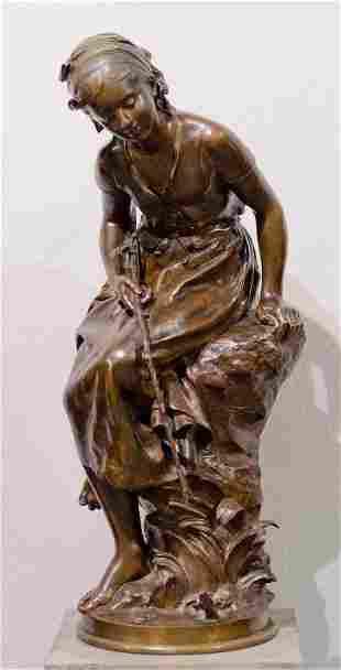 "MOREAU, Mathurin (1822-1912), ""La Pecheuse a la ligne"""