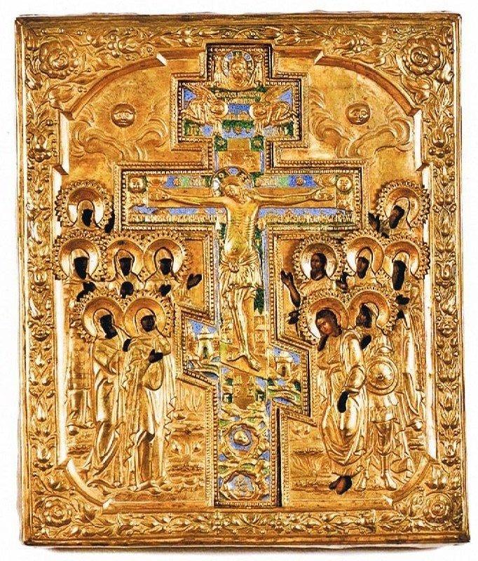 Rare antique Russian Staurothek-Icon